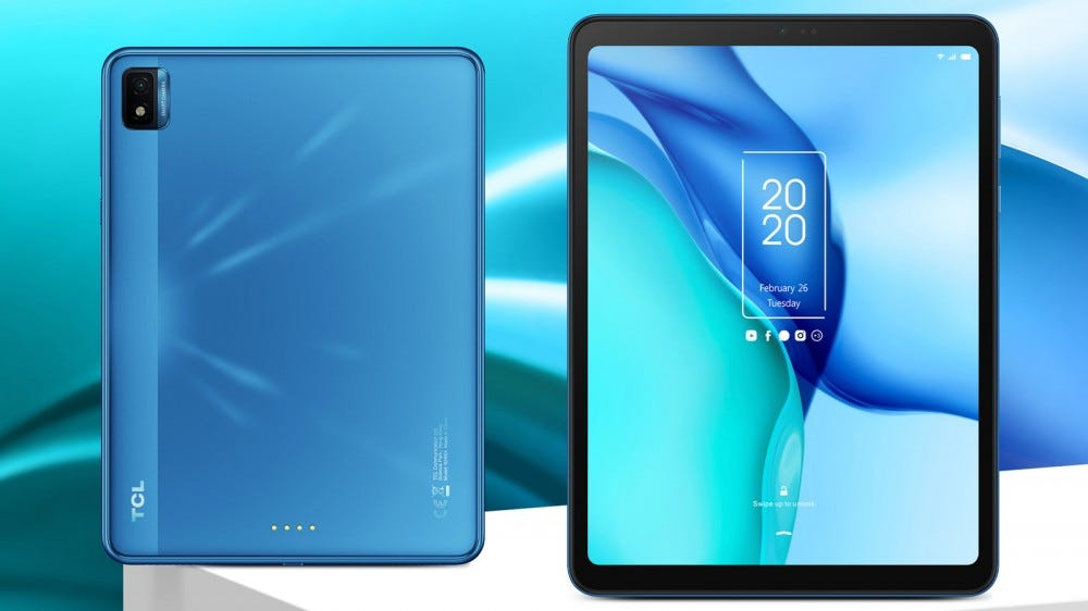 TCL NXTPAPER tablet front and rear view against artistic blue background