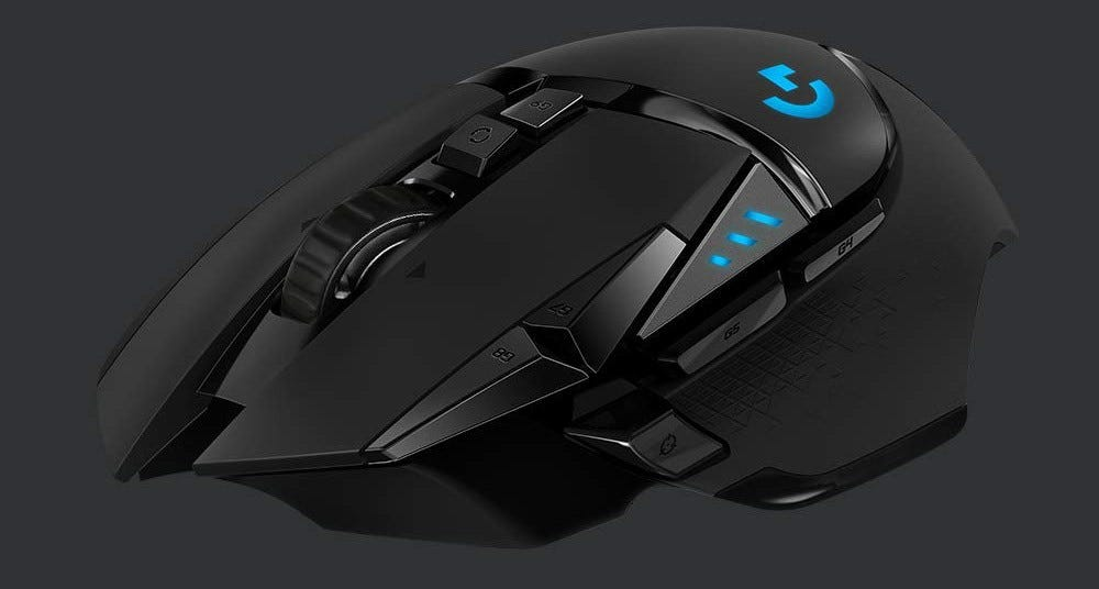 The logitech G502 wireless gaming mouse.