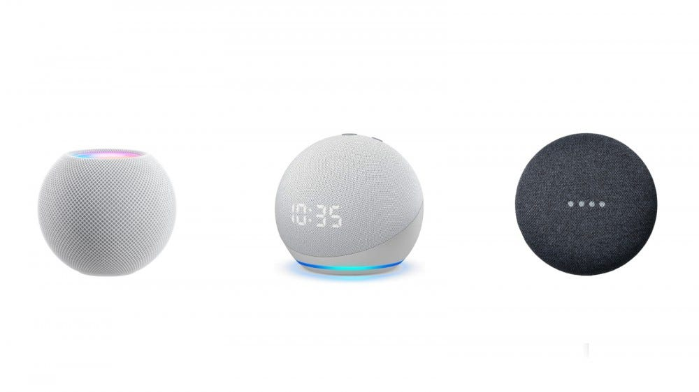 Apple HomePod, Amazon Echo Dot, and Google Nest Mini against a white background
