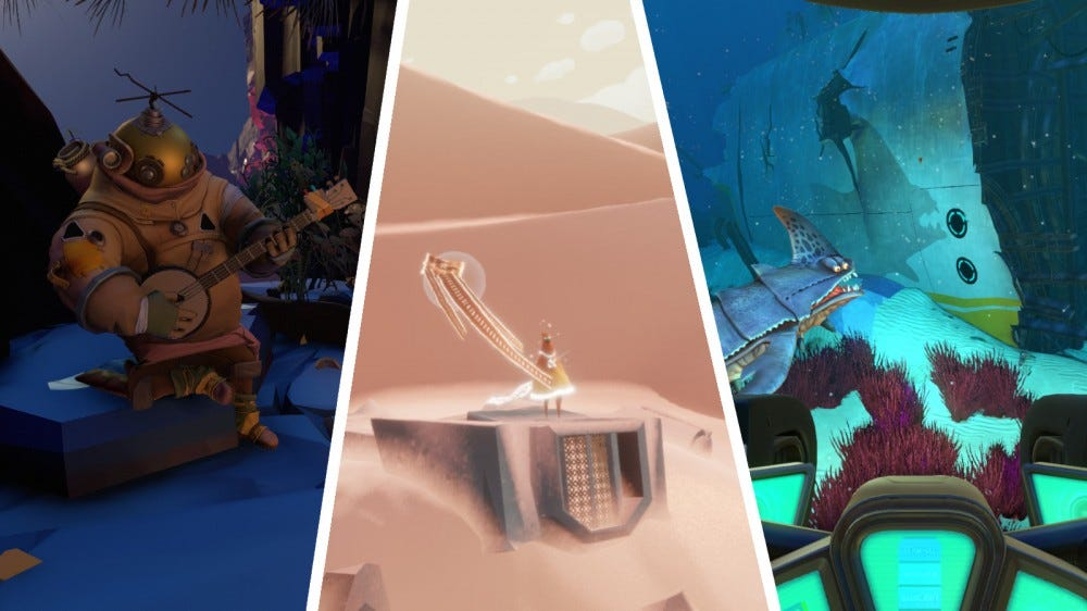 Screenshots of Outer Wilds, Journey, and Subnautica