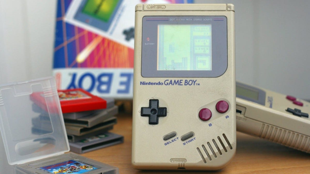 A Game Boy playing a game of Tetris