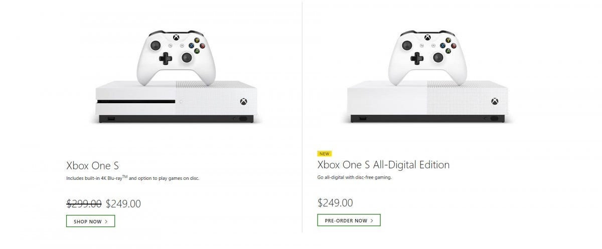 An Xbox One S and Xbox One S All-Digital Version priced equally