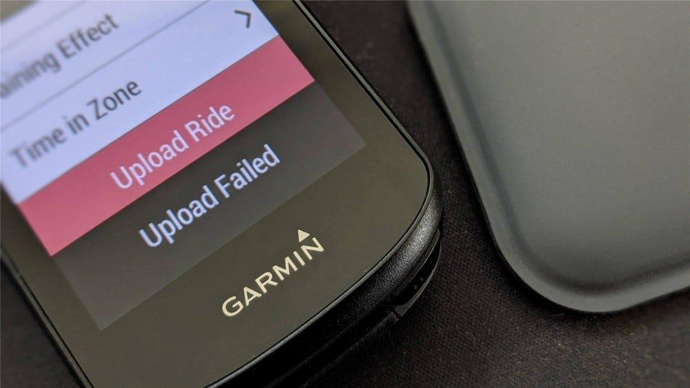 Upload Failed dialog on a Garmin Edge 530 cycling computer