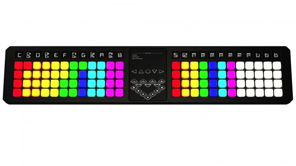 TheoryBoard music theory teaching MIDI controller with color-coded key specific pads