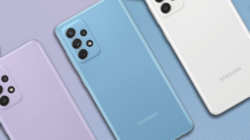 Fotó a Samsung Galaxy A52, A52 5G és A 772 telefonokról.