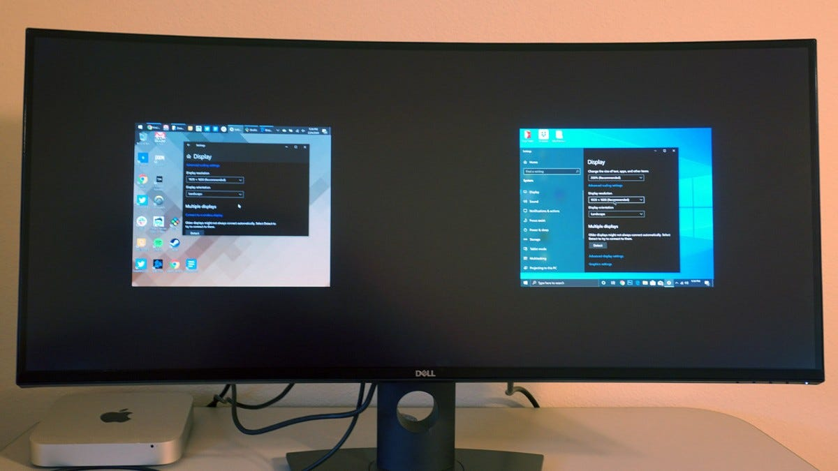 Side-by-side display mode.