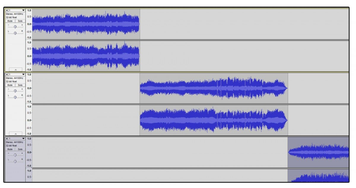 Three individual song tracks in Audacity.