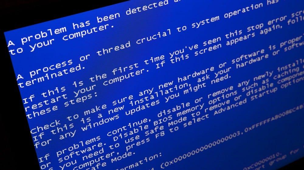A Windows blue screen of death