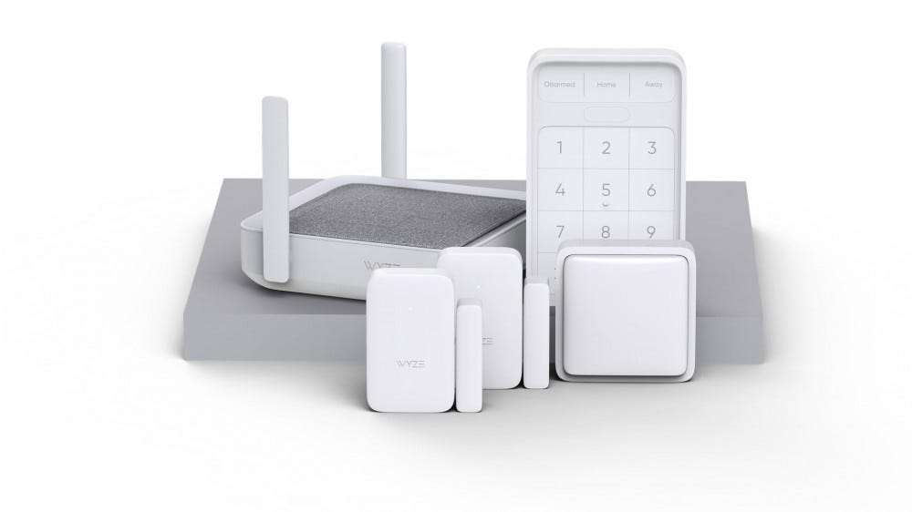 The full Wyze Home Monitoring kit, including sensors, keypad, and hub.