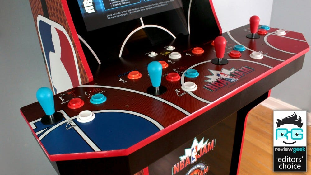 A closeup of an NBA Jam arcade machine