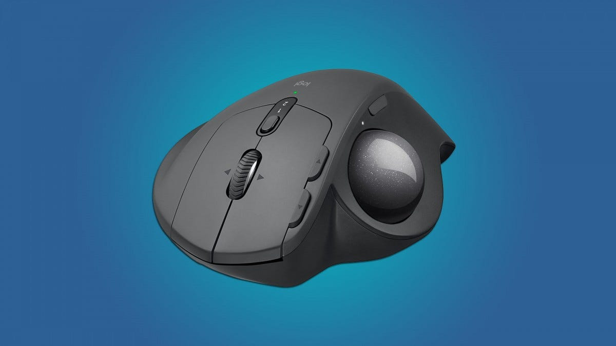 Logitech Ergo MX trackball mouse on a blue gradient background