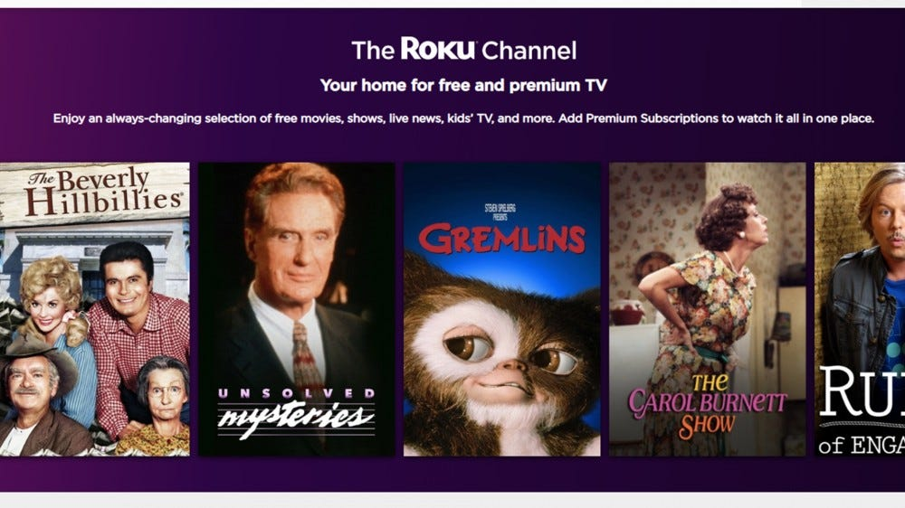 A screenshot of the Roku Channel webpage.