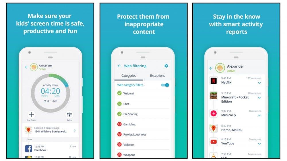 Qustodio app screenshots