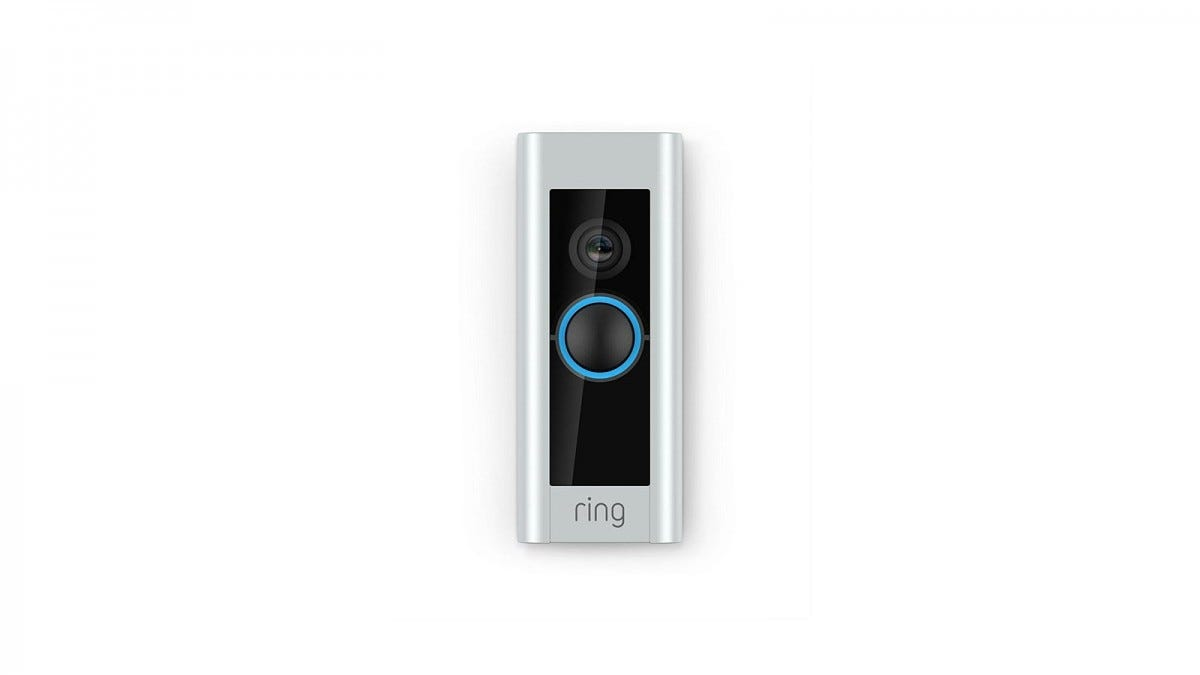 A Ring Video Doorbell Pro with a blue light around the doorbell button.