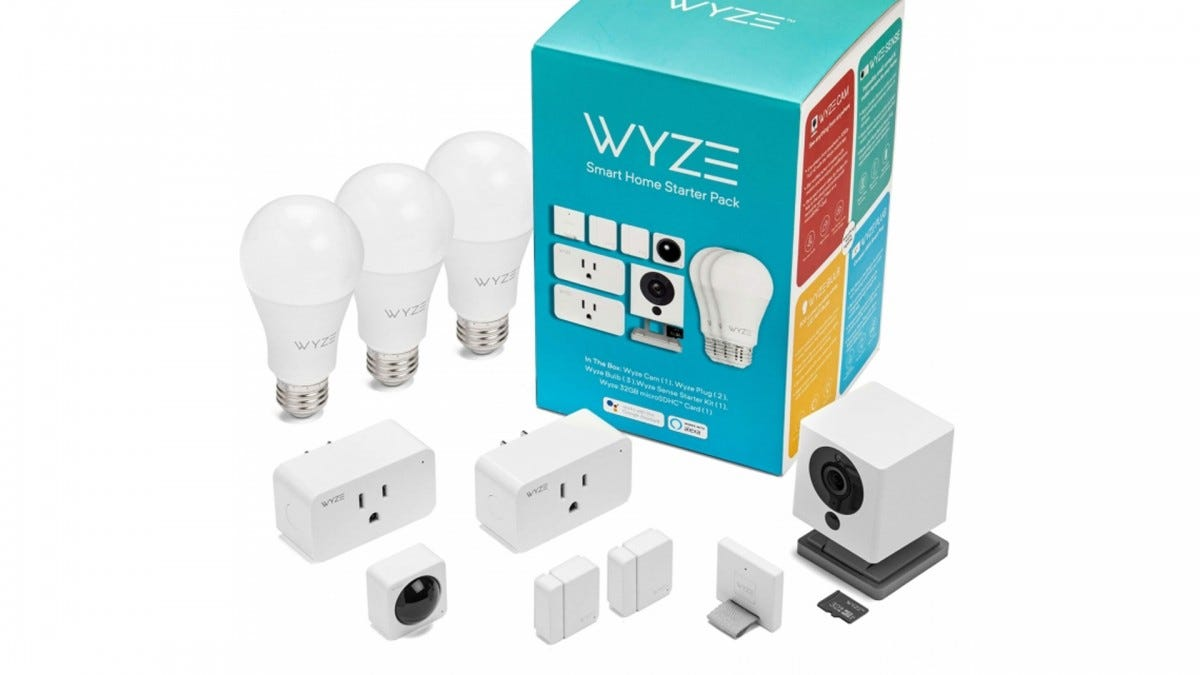 A Wyze Smart Home Starter Pack and all of its contents.