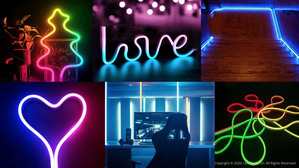 An LED tube in the shape of a heart and as the word