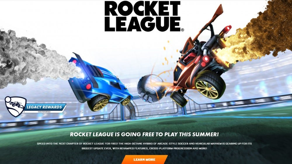 A screenshot of the Rocket League free to play announcement.