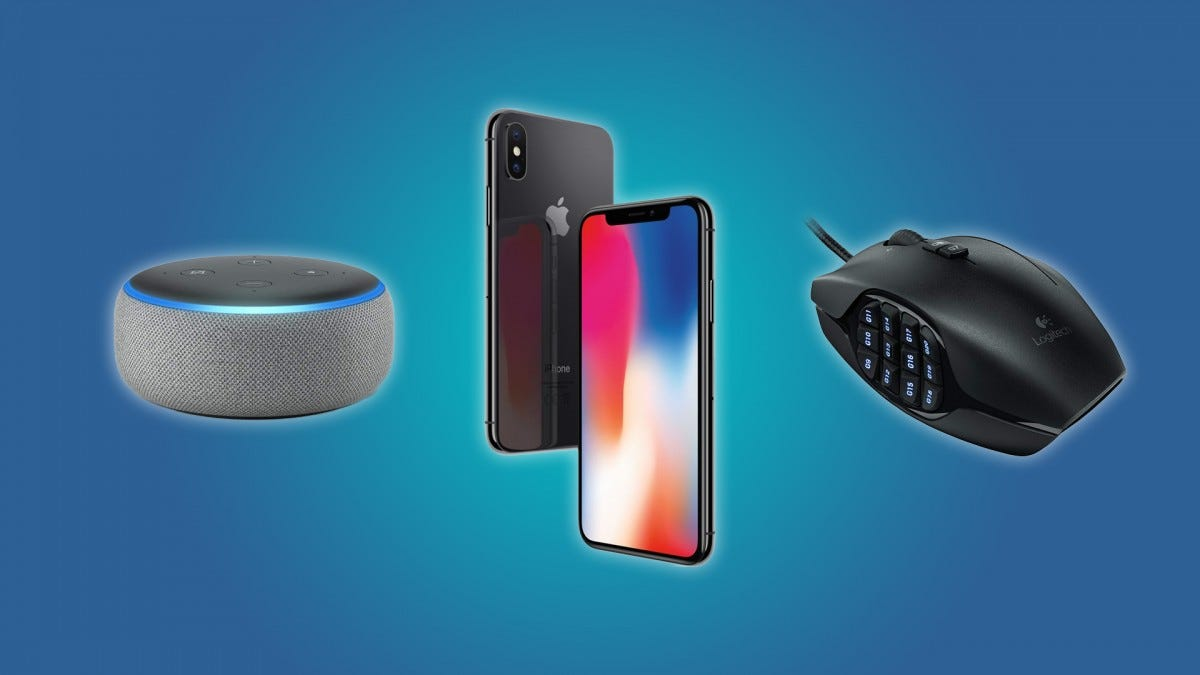 The iPhone X, the Echo Dot, the Logitech MMO Gaming Mouse