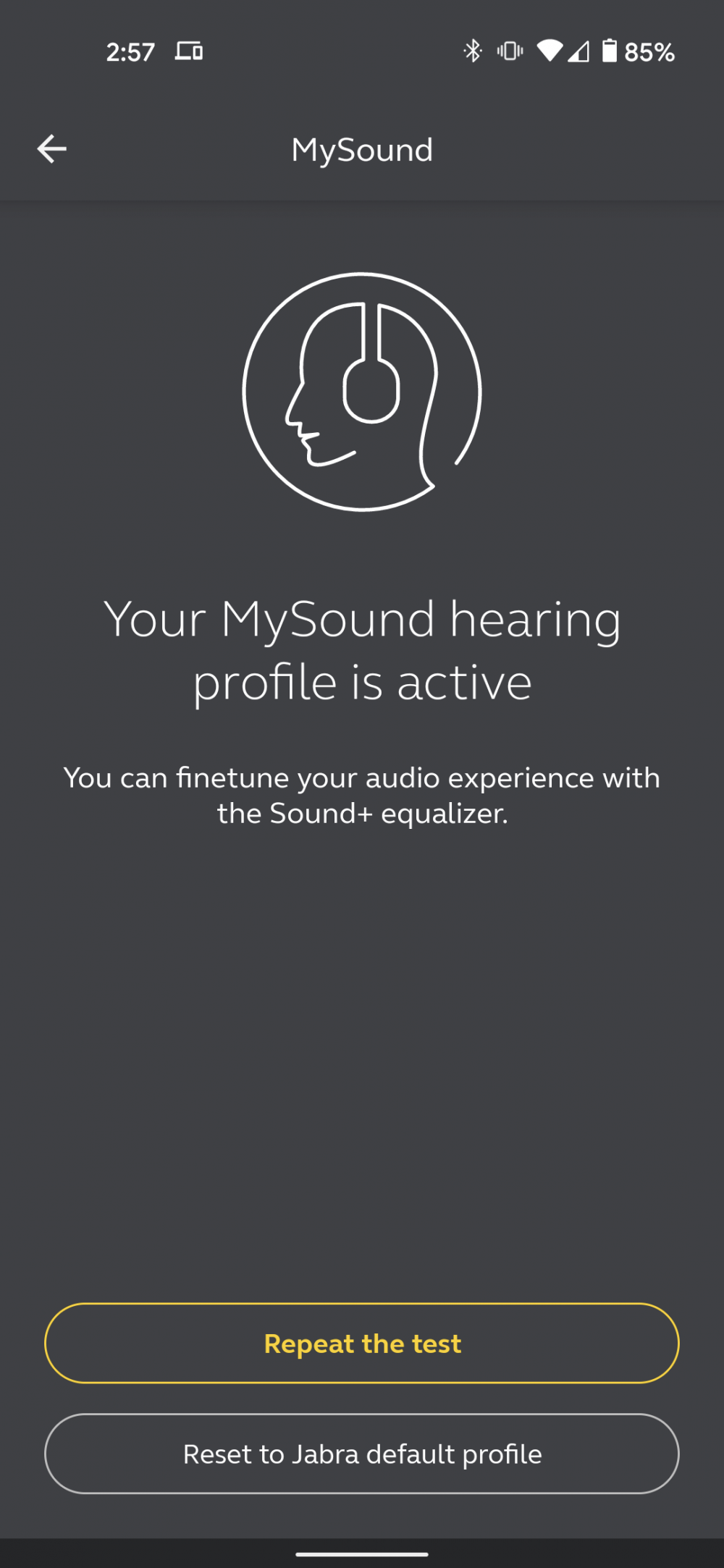The Sound+ app with the MySound feature
