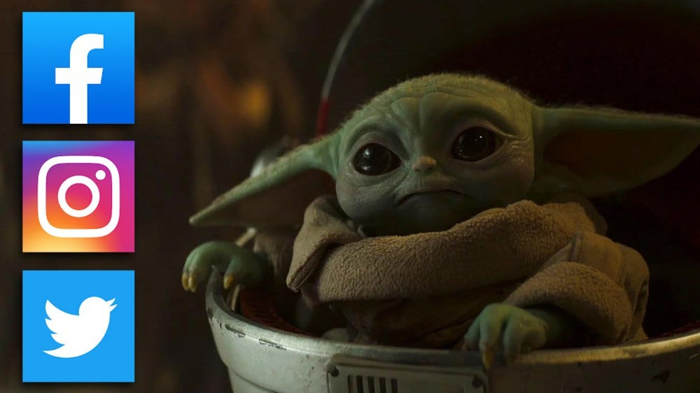 Baby yoda, with social network icons