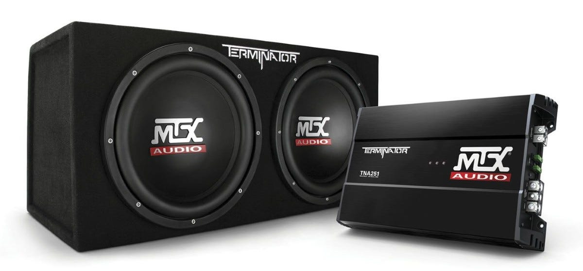 MTX Terminator subwoofer and TNA251 monoblock amplifier.