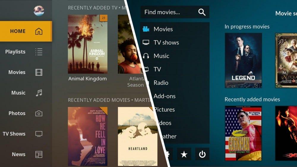 Plex and Kodi media center interfaces