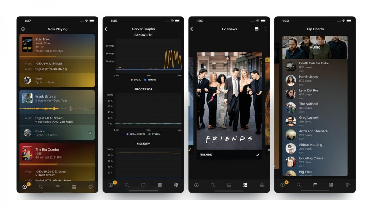 Four screenshots of the Plex Dash app