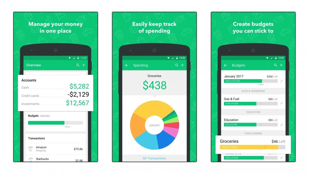 Screenshots of the Mint budgeting app.