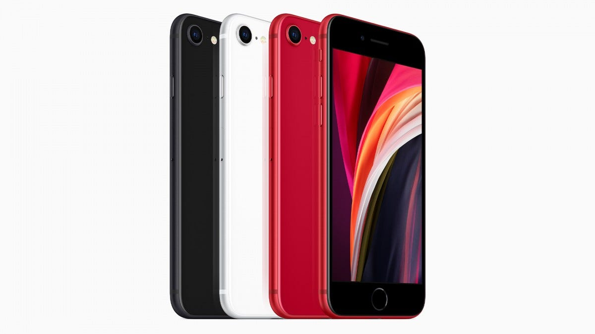 The iPhone SE in red, black, and white.