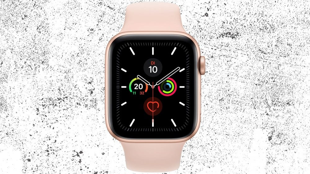 Apple Watch Series 5 against a grunge white background texture