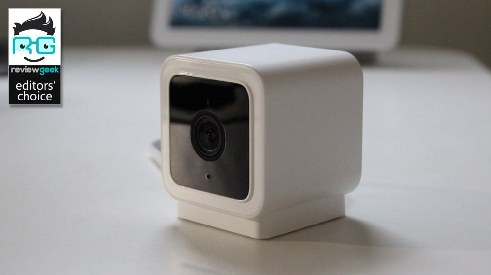 The Wyze Cam v3 on a white desk