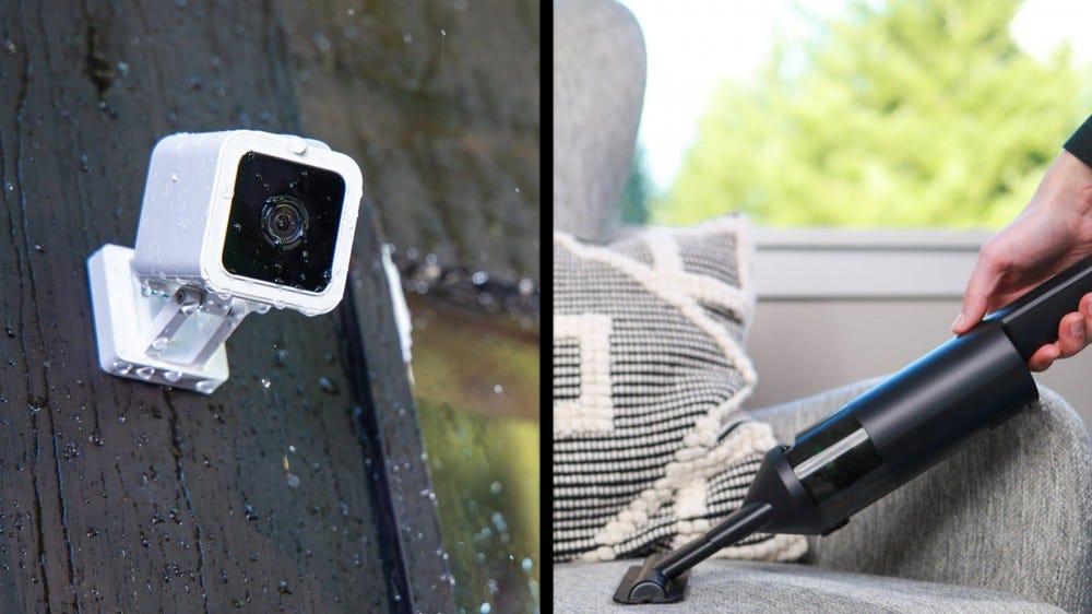 A Wyze Cam v3 next to a Wyze handheld vacuum.