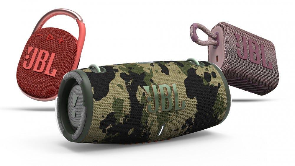 JBL's updated Bluetooth speakers.