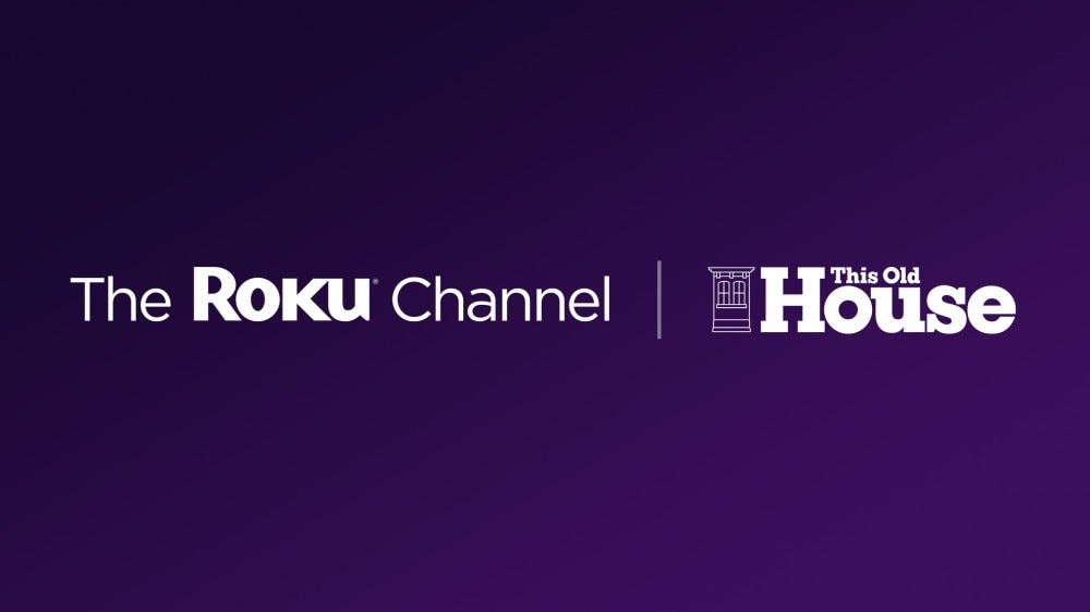 The Roku Channel logo next to the This Old House logo on a purple background