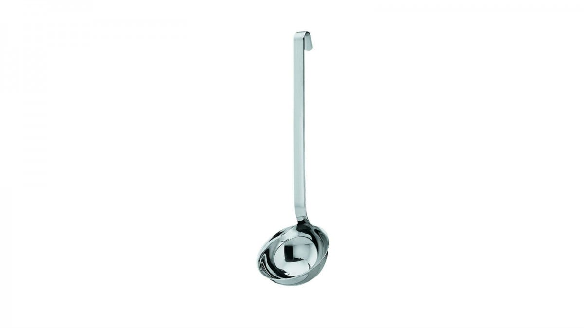 The Rosle Stainless Steel Hooked Handle Ladle with Pouring Rim.