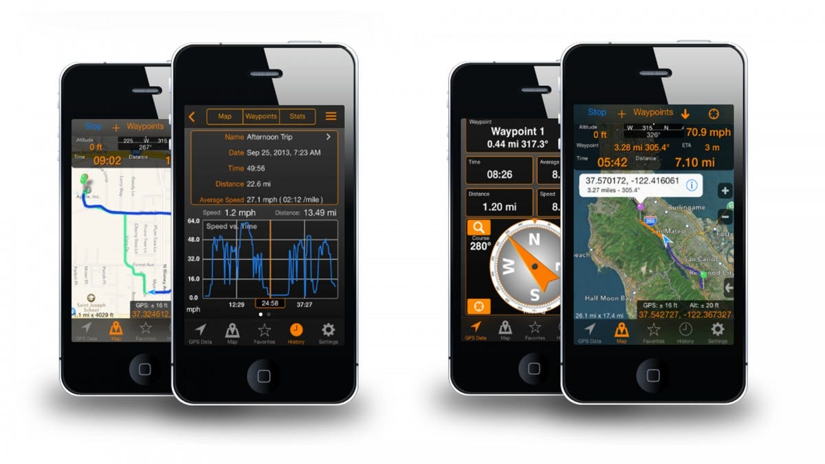 Screenshots of the GPS Tracks app
