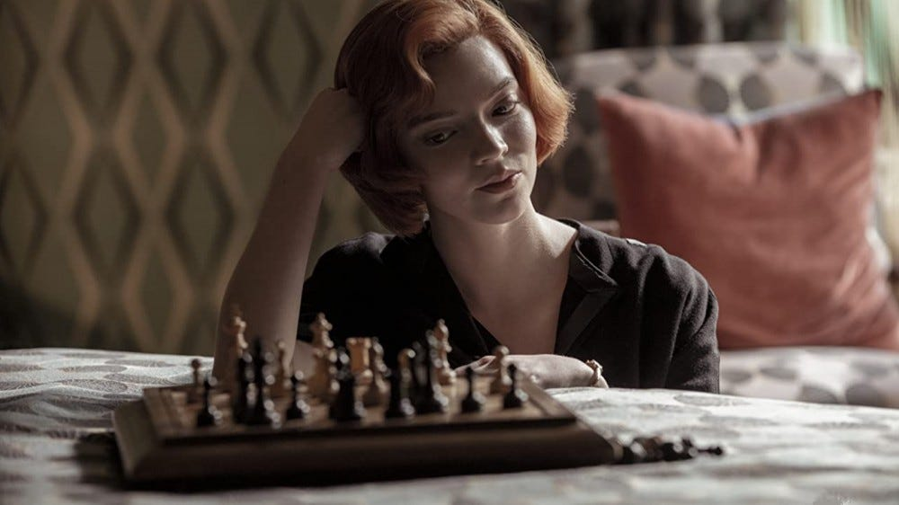"Beth Harmon playing chess in ""The Queen's Gambit"" on Netflix"
