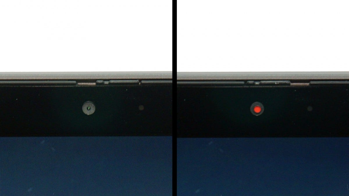 Side-by-side images of the X1 Yoga's webcam shutter open and closed.