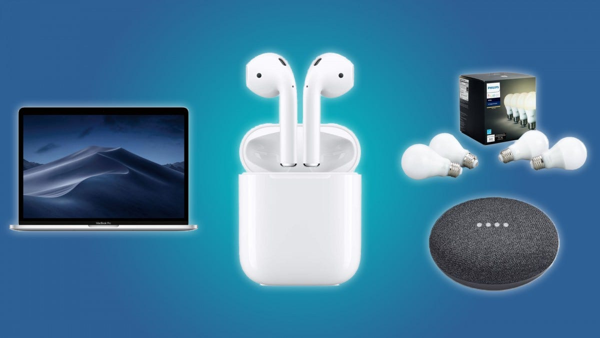The MacBook Pro, the Philips Hue, the Google Home Mini, and the Apple AirPods