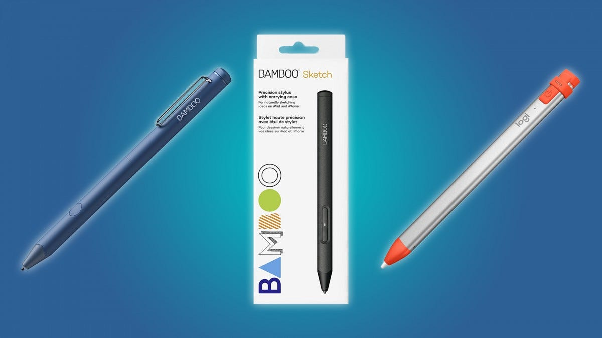 The Wacom Bamboo Sketch, the Wacom Bamboo Fineline, and the Logitech Crayon