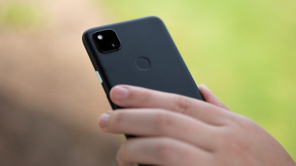 The rear fingerprint sensor on the Pixel 4a