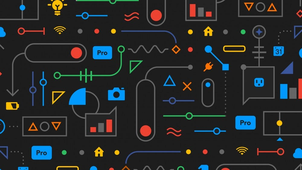 the IFTTT pro logo, surrounded by abstract art.