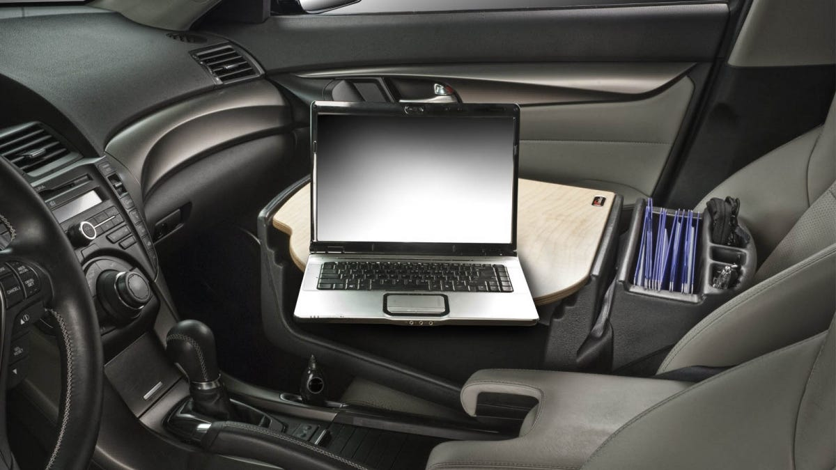 mobile desk in the passenger seat of a car