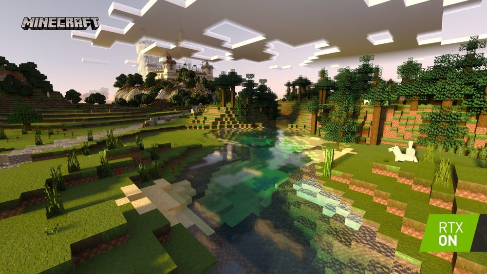A river in Minecraft with realistic reflections.