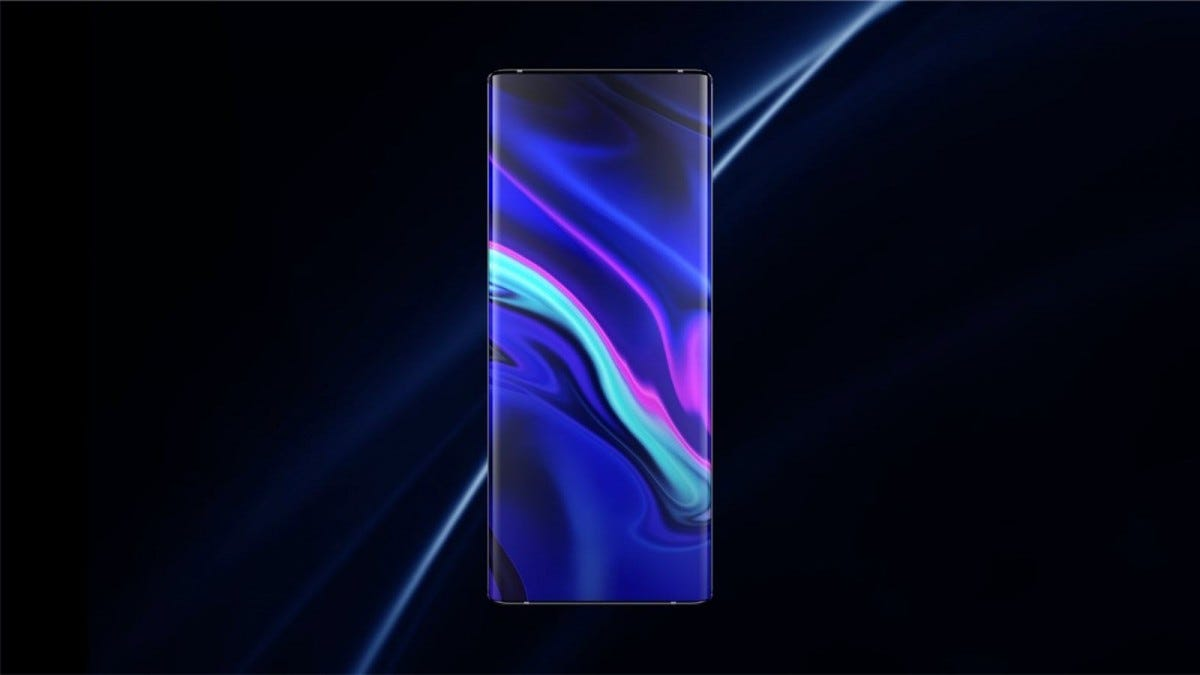 The Vivo Apex 2020, seen from the front on a dark background.