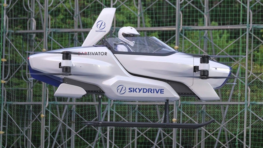 "A ""flying car"" test vehicle hovering in Japan test area"
