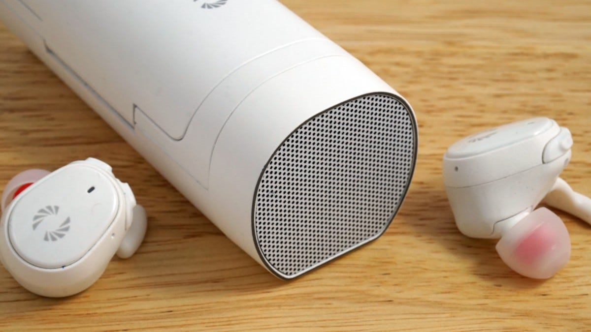 The charging case includes a tiny, almost useless Bluetooth speaker.