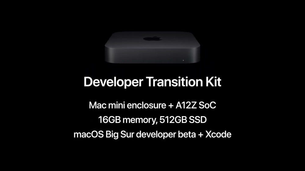 Apple's Developer Transition Kit and descriptive text.