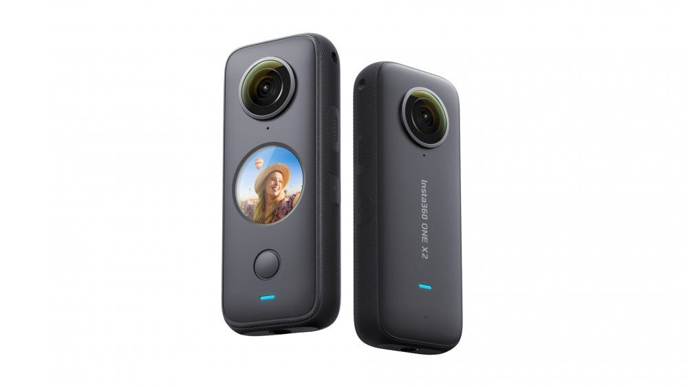 The Insta360 One X2 Seen from front and back.