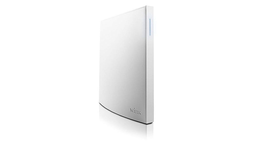 A Wink Hub 2 at a slight angle.